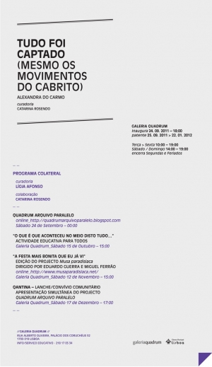Solo Show at Quadrum Gallery in Lisbon (Galeria Quadrum: Rua Alberto Oliveira, Palácio dos Coruchéus, 52 1700-019 Lisboa), FROM the 24th of September TO the 22nd of January 2012